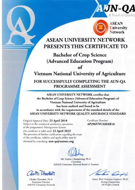 Chứng nhận đạt chất lượng chương trình tiên tiến ngành Khoa học cây trồng